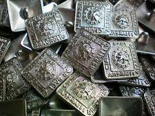 15 mm 19 mm aspect argent carré métal tige Chien Manteau Veste Craft Bouton MB73D-E