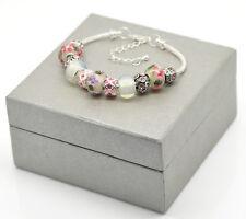 Handmade belle rose bracelet perles de verre avec boîte cadeau - 7,5 pouces - 19cm