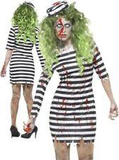 Zombie Donna Costume da Prigioniero Carcerato Vestito per Halloween S-XL