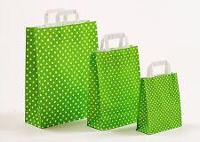 250 Papiertragetaschen Punkte Polka-Dots GRÜN Papiertüten Tüten Tragetaschen
