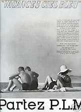 Publicité-Tourisme : vacances P.L.M. ;1937