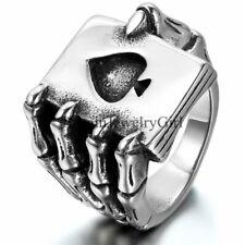 Punk Gothic Skull Claw Heart Poker Biker Men Stainless Steel Ring Band Size 7-13