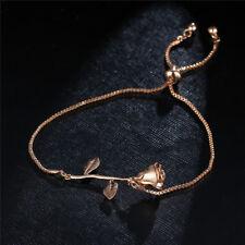 Adjustable Rose Flower Bracelet Charm Vintage Style Chain & Link Bracelets