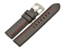 Uhrenarmband Breitdornschließe HighTech Textil grau mit roter u. schwarzer Naht