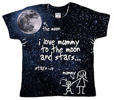 """DF T-Shirt Bébé Impression Totale """"I Love Mummy pour Lune & Étoiles et Arrière"""""""
