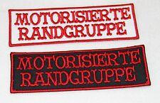 Motorisierte Randgruppe 12x4cm Aufnäher/Aufbügler Biker HA weiss/rot 81  -12 NEU