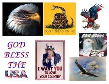 Patriotic - Iron on Transfers - Eagle, Flag, Don't Tread on Me, God Bless USA