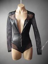Black Cyber Goth Fishnet Faux Leather Low-Cut Leotard Club 111 mv Bodysuit S M L