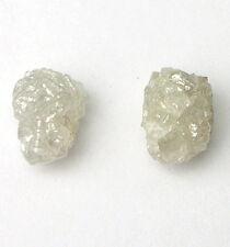 1.5+ Carats 2 WHITE Uncut Natural Rough Diamonds PAIR