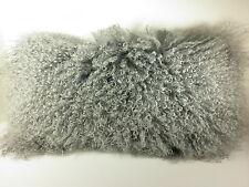 Real Genuine Mongolian Lamb Fur Dyed Gray Pillow New USA made Grey Tibet cushion
