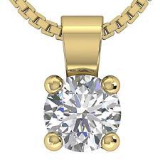 Solitaire Pendant Necklace I1 G 0.70 Ct Genuine Diamond Prong Set 14K White Gold