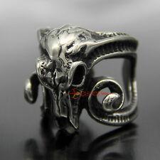 Men's Large Stainless Steel Goat Skull Ring Gothic Aries Baphomet Ram Biker Band