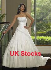Stock Clearance Elegant Taffeta Wedding Dresses Bridal Gowns Size 8 10 UK Stock