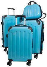 Reisekoffer Set Hartschalenkoffer Trolley Beautycase Mauritius Hellblau Blau
