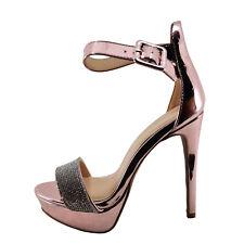 Qupid Avalon 226X Pink Women's Faux Diamond Embellished Banded Heel