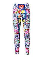 Colorido Psicodélico calaveras Floral Cuadrados Estampado Alternativa leggings