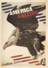 postcard War WW2 🦅 AMERICA CALLING Civilian Defense Vintage style advertising