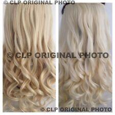 Blanco de oro rubio platino Clip en extensiones de cabello sintético Rizado 1PC de espesor