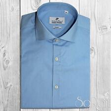 Camicia Uomo Casual Basic Cotone Tinta Unita Celeste Manica Lunga SlimFit SARANI