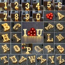 Alphabet LED Letter Lights Light Up White Warm Letters Standing Hanging A-Z 0-9