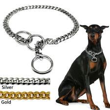 Heavy Duty Dog Choke Check Collar Chain Metal Sliver Steel Chrome Dog Control