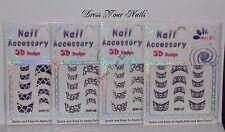 Nail Stickers -French Tip Black/White Zebra Cracked Art Nail Glitter Sticker-UK