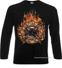 Longsleeve/Langarmshirt schwarz Feuerwehr/ Firefightermotiv Modell Fire Rescue P