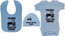 Trainee Tractor Driver Baby Grow/Bodysuit & Bib & Hat 0-24m Boy Girl