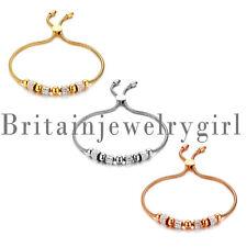 European Charm Beads Stainless Steel Snake Chain Bracelet for Women Girls