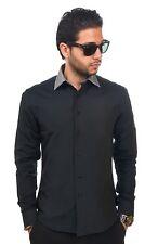Slim / Tailored Fit Mens Black & Grey Collar Dress Shirt Wrinkle-Free AZAR MAN