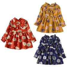 Dandelion Stand Collar Dress Kids Girls Autumn Long Sleeve Cotton Dresses #Cu3