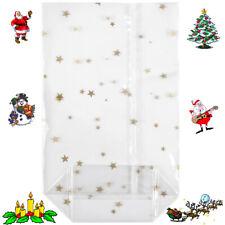 Kreuzbodenbeutel transparent Weihnachtsbeutel goldene Sterne Plätzchentüten