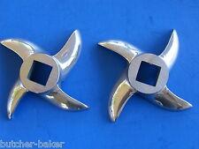 *TWO*  #12  Meat Grinder Knife Blade Cutter for Hobart MTN Cabelas LEM etc.