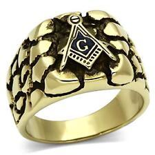 Aspecto Antiguo Chapado en Oro 316 Acero Inoxidable Nugget Estilo Anillo masón