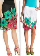 DESIGUAL LESLIE TULIP SKIRT S-XXL 10-18 RRP£64 WHITE BLACK GREEN PINK FLOWERS