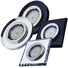Set Glas Einbau-strahler verspiegelt LED Einbau-leuchte Spot eckig rund DIANOND
