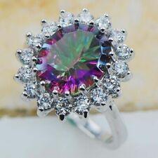 Chic Women 925 Silver Rainbow Topaz Gemstone Wedding Ring Jewelry Size 6-10