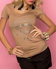 Sexy MiSS Damen Glamour Shirt Strass Finger Peace Top S/M 34/36 M/L 36/38 braun