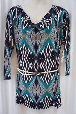 LAUNDRY by Design Vestido Talla M Tinta Azul Multicolor Cinturón Cintura Cóctel