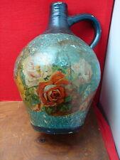 Jolie ancienne cruche peinte décor de roses