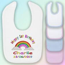 1st Birthday Rainbow Embroidered Baby Bib Gift Personalised Unisex