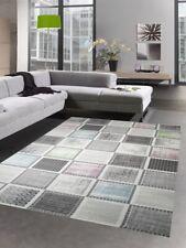 Salon tapis classique tapis moderne karo gris vert bleu rose