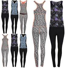 Womens Ladies Galaxy Print Racer Muscle Back Scoop Neck Top Legging UK Size 6-12