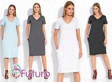 Ladies Tunic With Pockets Pencil Midi Dress V Neck  Plus Sizes 8-18 AU FA494