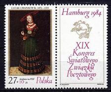 POLAND 1984 **MNH SC#B142 L.CRANACH UPU HAMBURG`84
