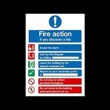 Fuego acción si descubre el fuego-señal, etiqueta engomada - 150mm X 200mm - (fa99)
