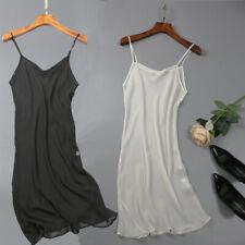 100% Silk Chemise transparent Nightgown Nightdress Sleepwear with straps JN016