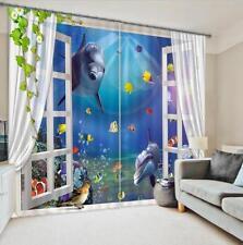 3D Fenster Delphin 5Blockade Foto Vorhang Druckvorhang Vorhänge Stoff Fenster DE