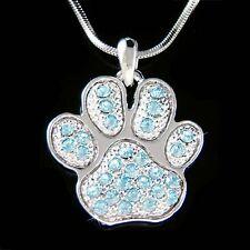 w Swarovski Crystal Blue Dog KITTY CAT Kitten ~Pawprint Paw Print charm Necklace