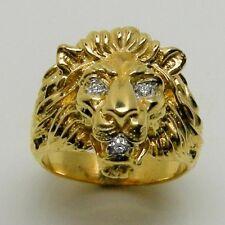 14K GOLD LION'S HEAD GENTS MENS RING WITH GEN. DIAMONDS, HANDMADE. RETAIL $2499